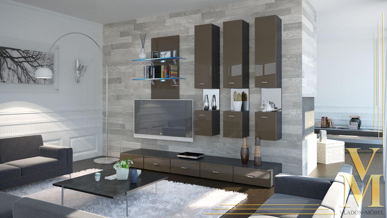 Moderne anbauwand wohnwand schrankwand mesa v2 schwarz for Moderne anbauwand