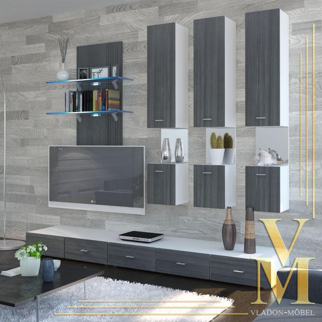 wohnwand anbauwand mesa v2 in verschiedenen naturfarben ebay. Black Bedroom Furniture Sets. Home Design Ideas