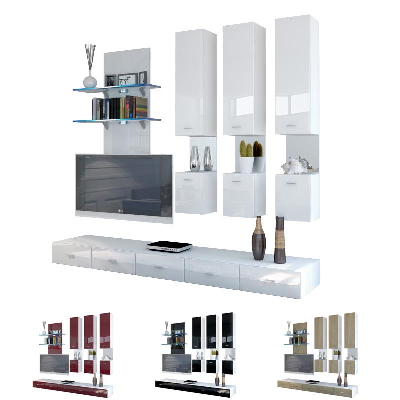 moderne anbauwand wohnwand schrankwand mesa v2 wei in hochglanz oder naturt nen ebay. Black Bedroom Furniture Sets. Home Design Ideas