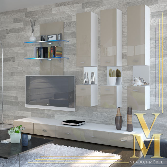 Wall Unit Living Room Furniture Mesa V2 In White Sand Grey Highgloss Ebay