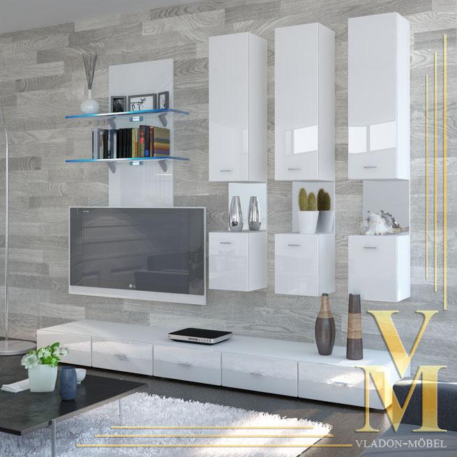 wohnwand anbauwand mesa v2 hochglanz versch farben ebay. Black Bedroom Furniture Sets. Home Design Ideas