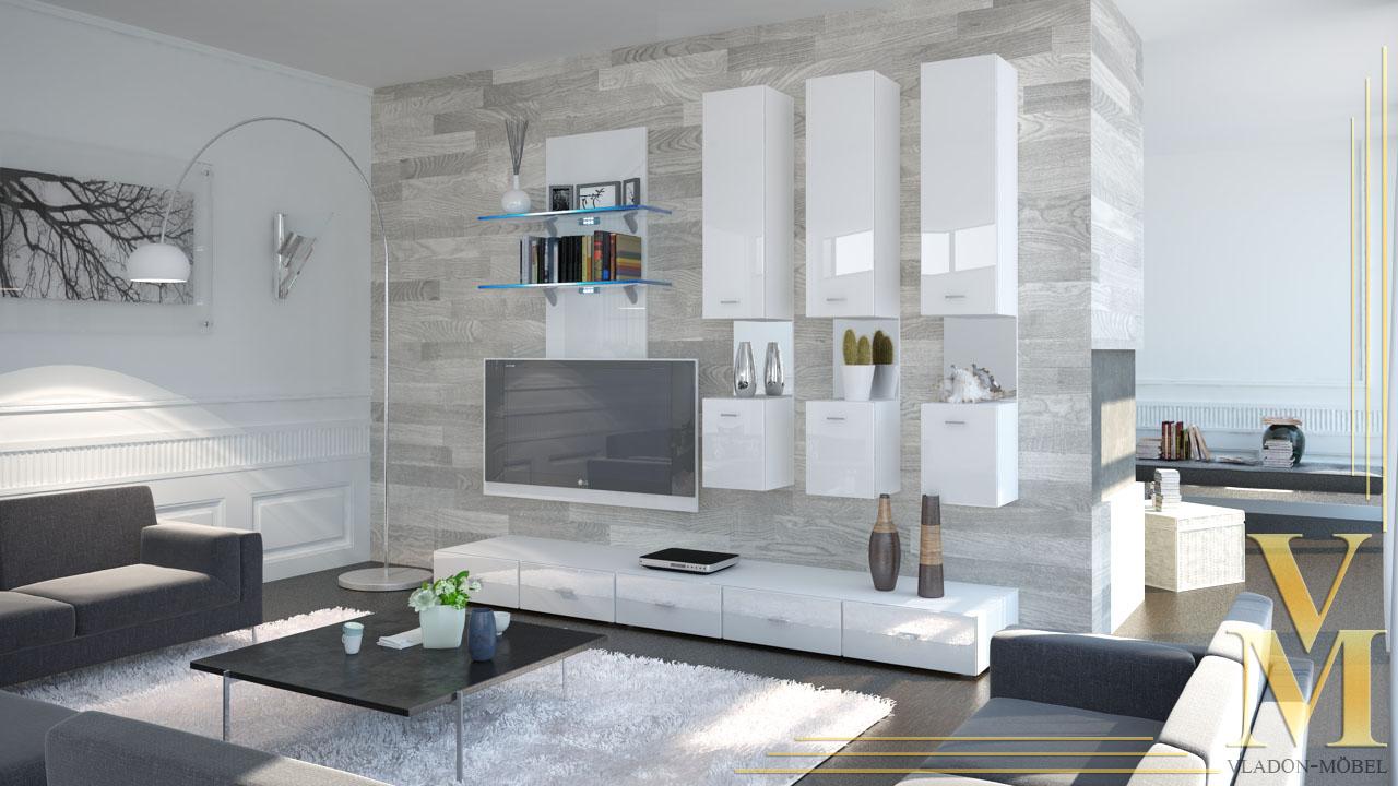 wohnwand anbauwand schrankwand mesa v2 in wei wei hochglanz ebay. Black Bedroom Furniture Sets. Home Design Ideas