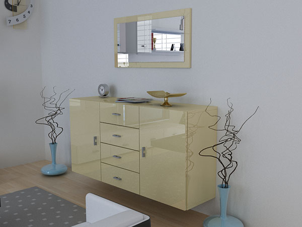 sideboard meyla creme creme komplett hochglanz ebay. Black Bedroom Furniture Sets. Home Design Ideas