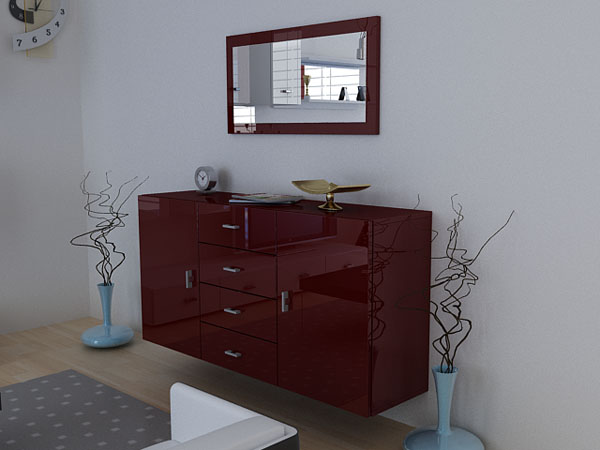 sideboard meyla rot rot komplett hochglanz ebay. Black Bedroom Furniture Sets. Home Design Ideas