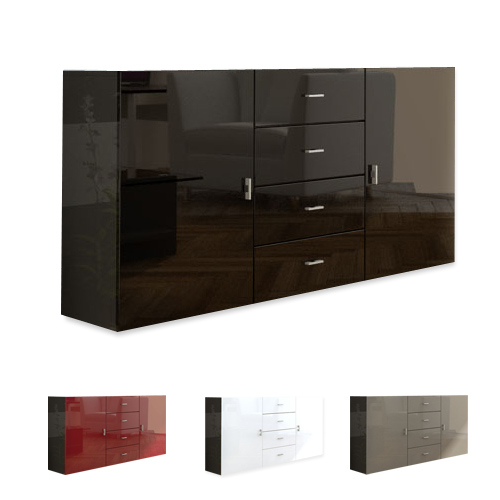 sideboard tv board anrichte kommode meyla in schwarz hochglanz naturt ne ebay. Black Bedroom Furniture Sets. Home Design Ideas