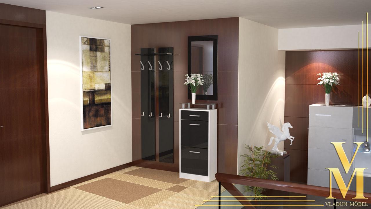 garderobenset garderobe schuhschrank loret v2 mini hochglanz in versch farben ebay. Black Bedroom Furniture Sets. Home Design Ideas