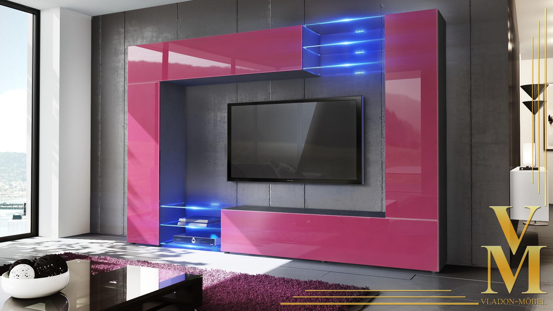 wohnwand schrankwand anbauwand mirage in schwarz hochglanz naturt ne ebay. Black Bedroom Furniture Sets. Home Design Ideas