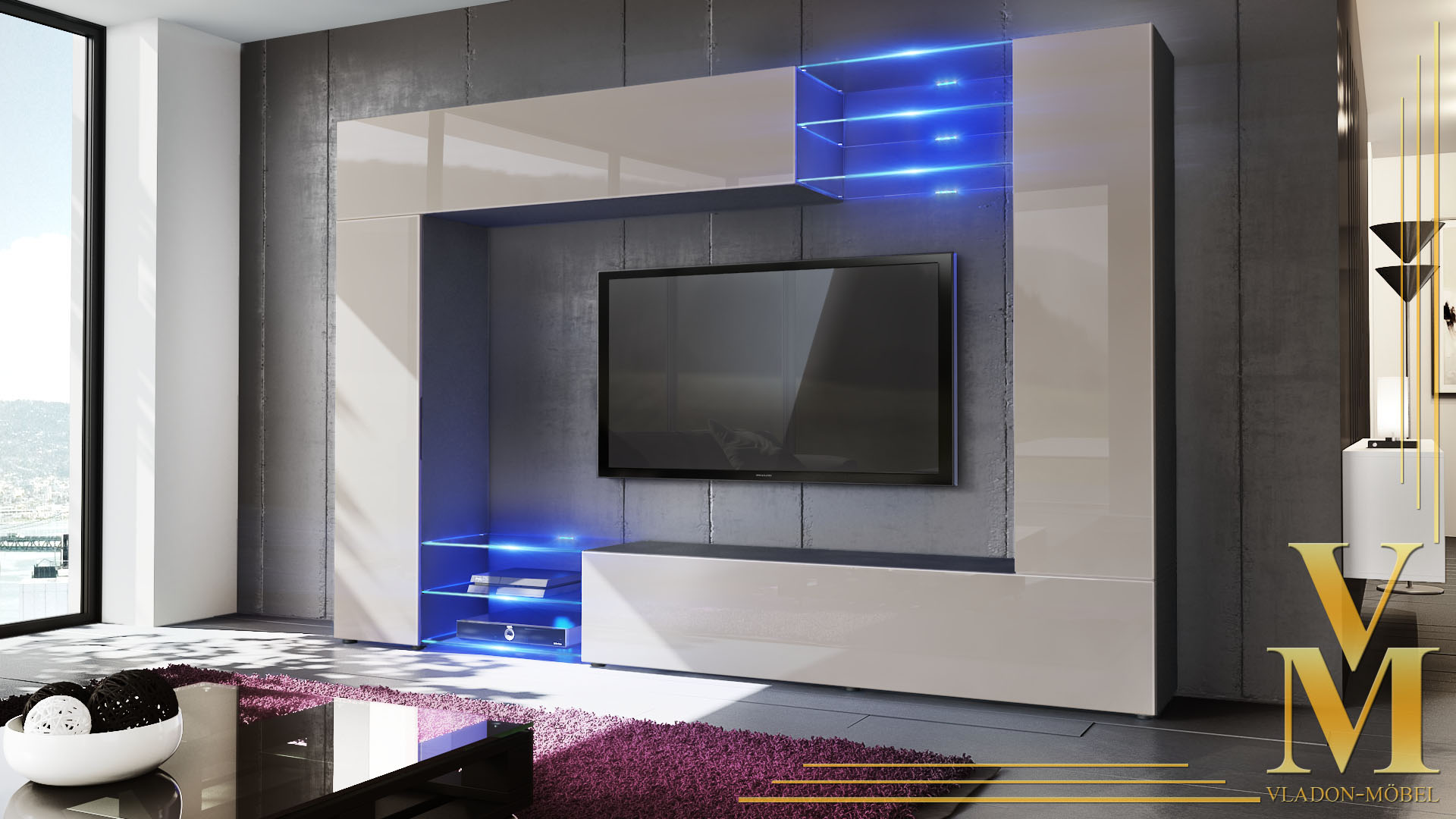 Wall Unit Living Room Furniture Mirage Black High Gloss
