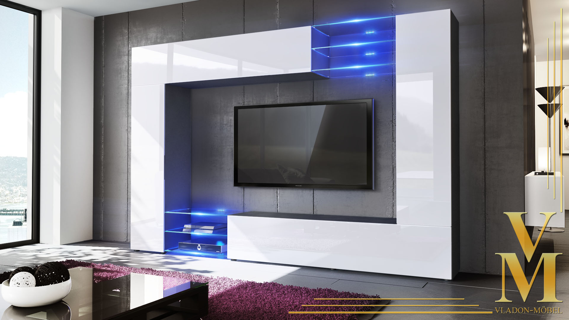 Wall unit living room furniture mirage black high gloss Living room furniture wall units