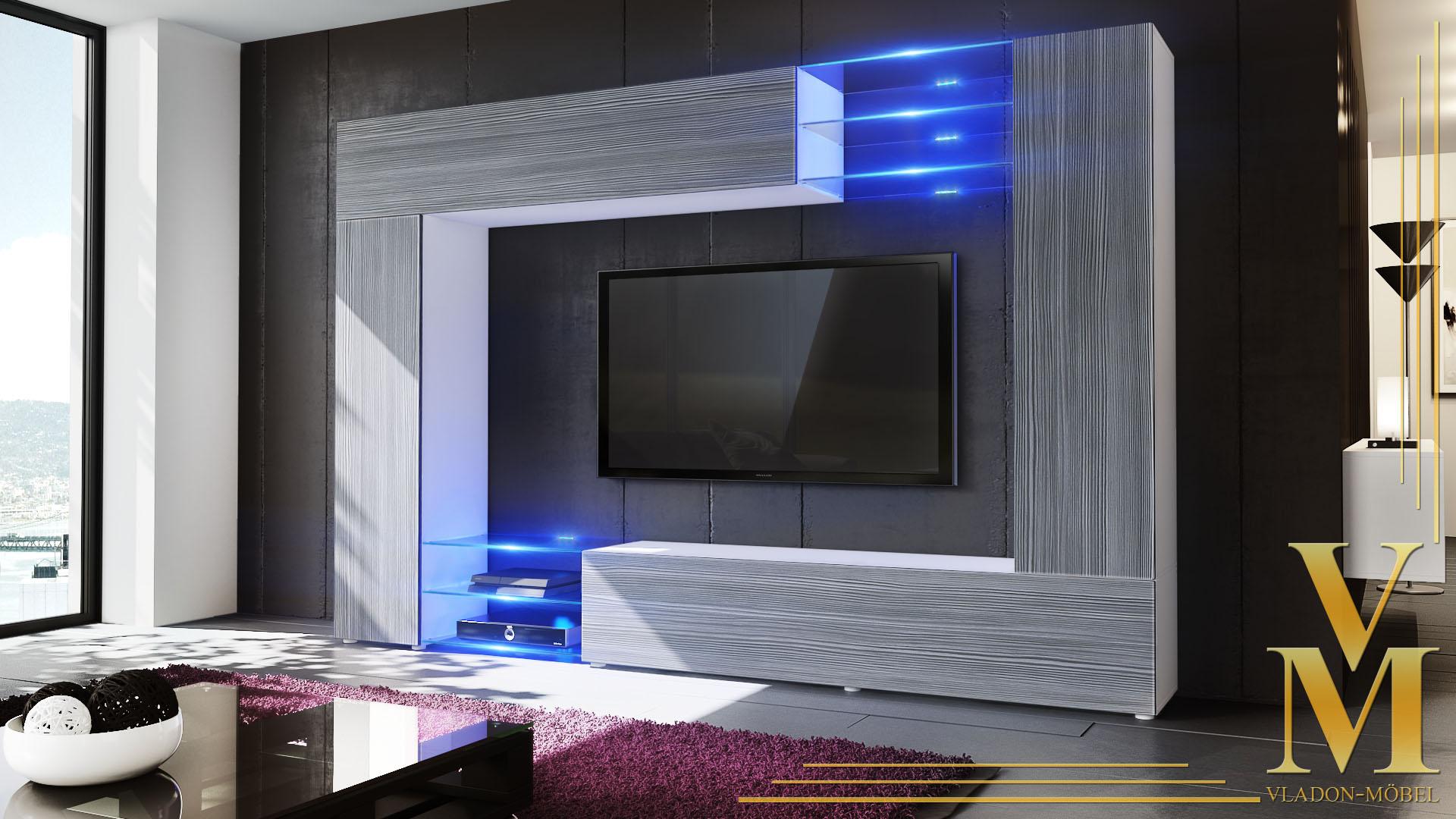wohnwand schrankwand anbauwand mirage in wei hochglanz naturt ne ebay. Black Bedroom Furniture Sets. Home Design Ideas