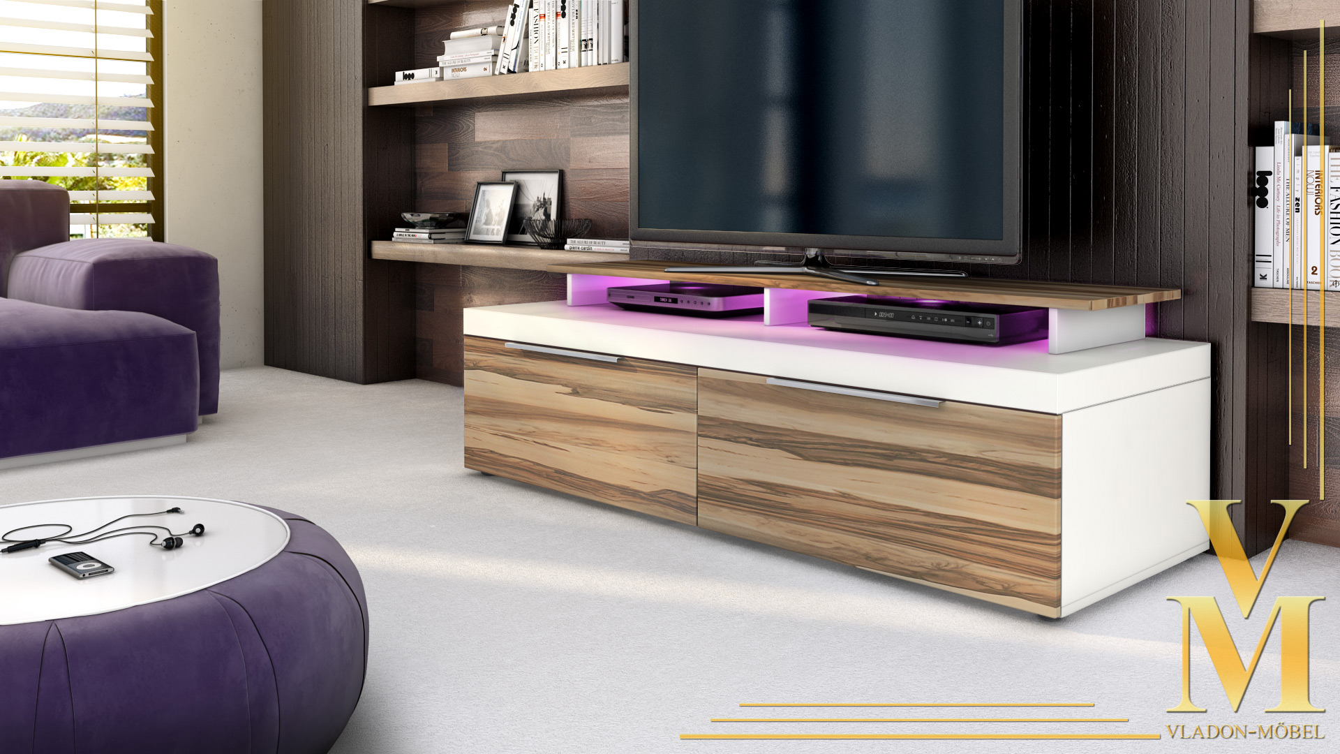 tv unit lowboard stand cabinet mondo white high gloss. Black Bedroom Furniture Sets. Home Design Ideas
