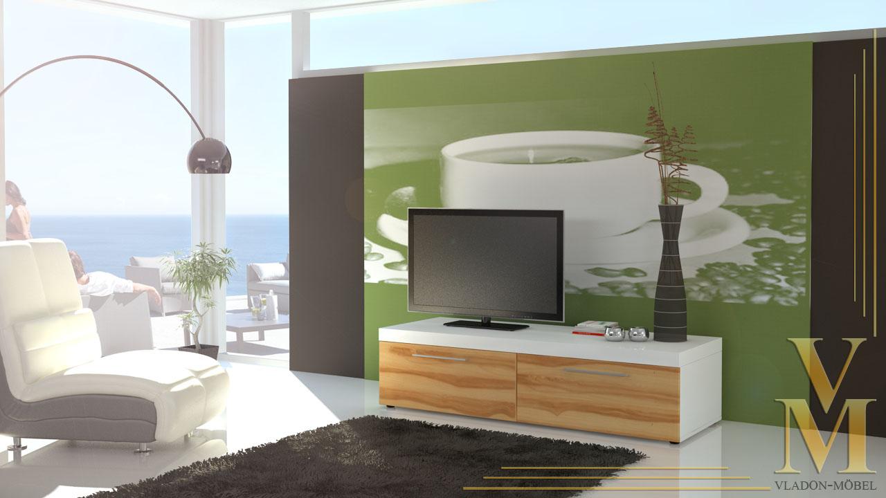lowboard tv board unterschrank mondo wei kernbuche ebay. Black Bedroom Furniture Sets. Home Design Ideas