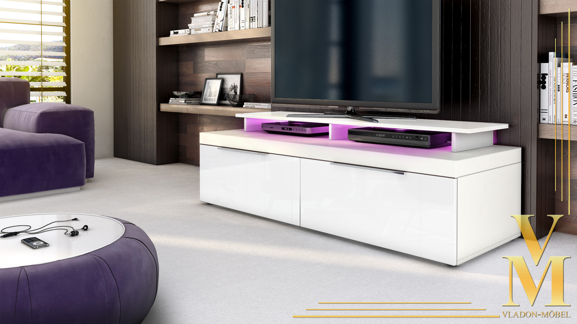 tv unit lowboard stand cabinet mondo white high gloss natural tones sale ebay. Black Bedroom Furniture Sets. Home Design Ideas