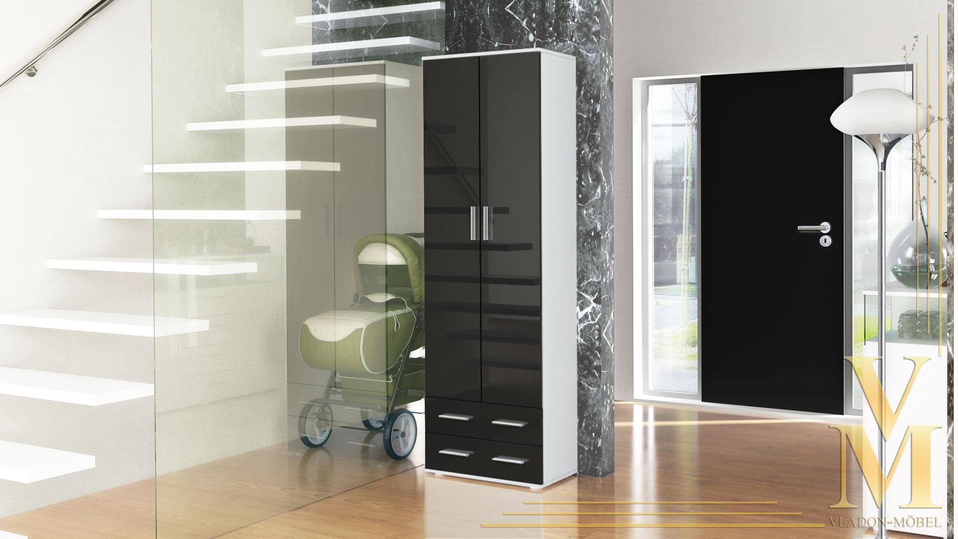 garderobenschrank flur dielenschrank moravia wei in hochglanz oder naturt nen ebay. Black Bedroom Furniture Sets. Home Design Ideas