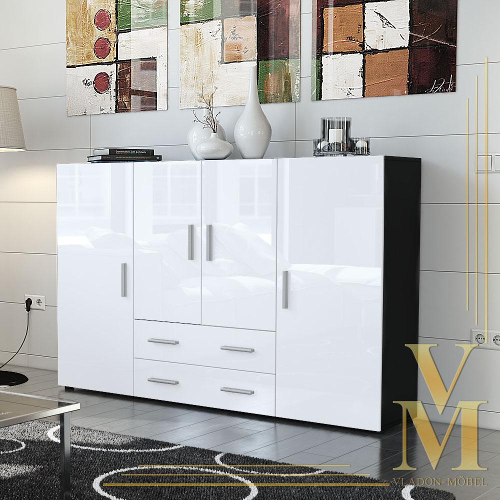 highboard sideboard cabinet nora in black white. Black Bedroom Furniture Sets. Home Design Ideas