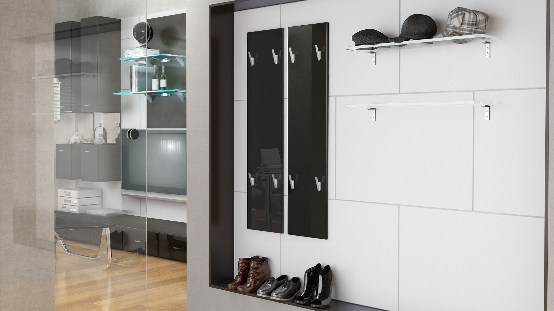 Garderobenpaneel wandgarderobe garderobe wandpaneel 120 for Garderobenpaneel schwarz hochglanz