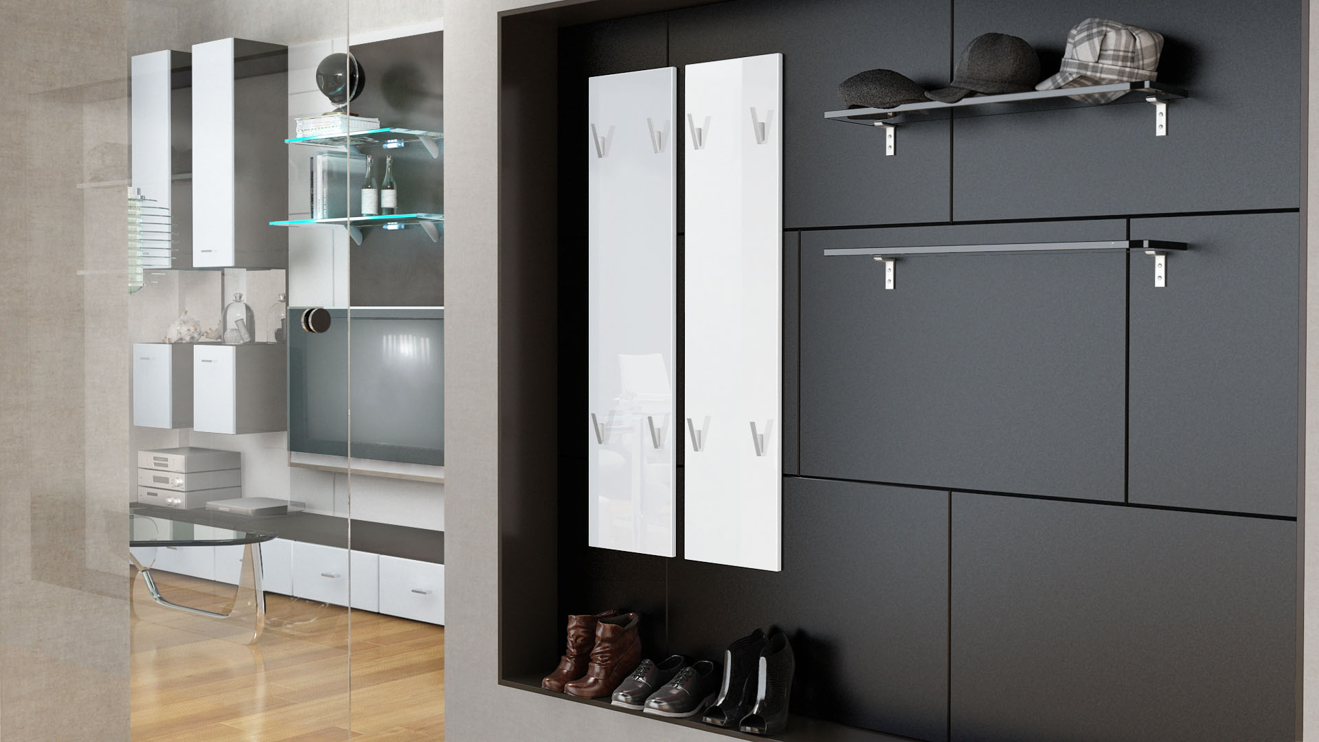 garderobenpaneel wandgarderobe garderobe wandpaneel 120. Black Bedroom Furniture Sets. Home Design Ideas