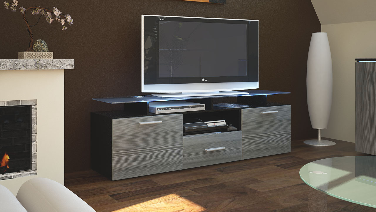 TV Lowboard Board Schrank Tisch Almada in Schwarz matt  -> Tv Lowboard Schiefer Optik