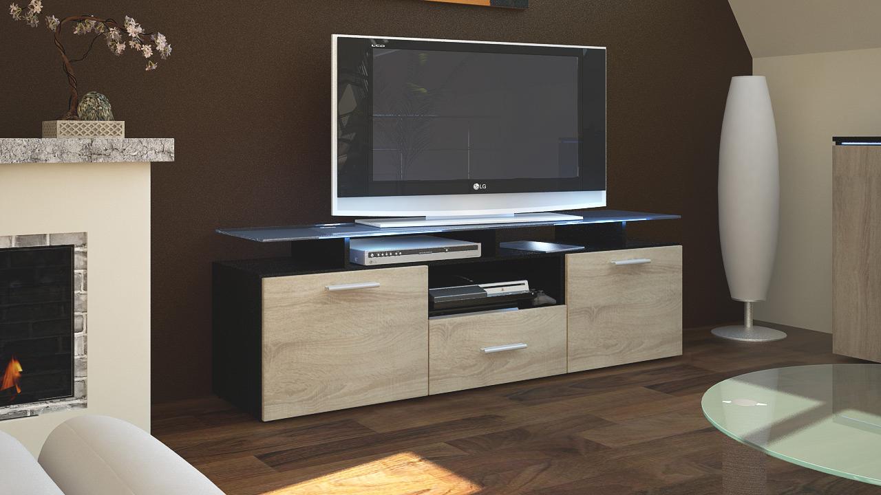 tv unit stand cabinet sideboard almada black high gloss. Black Bedroom Furniture Sets. Home Design Ideas