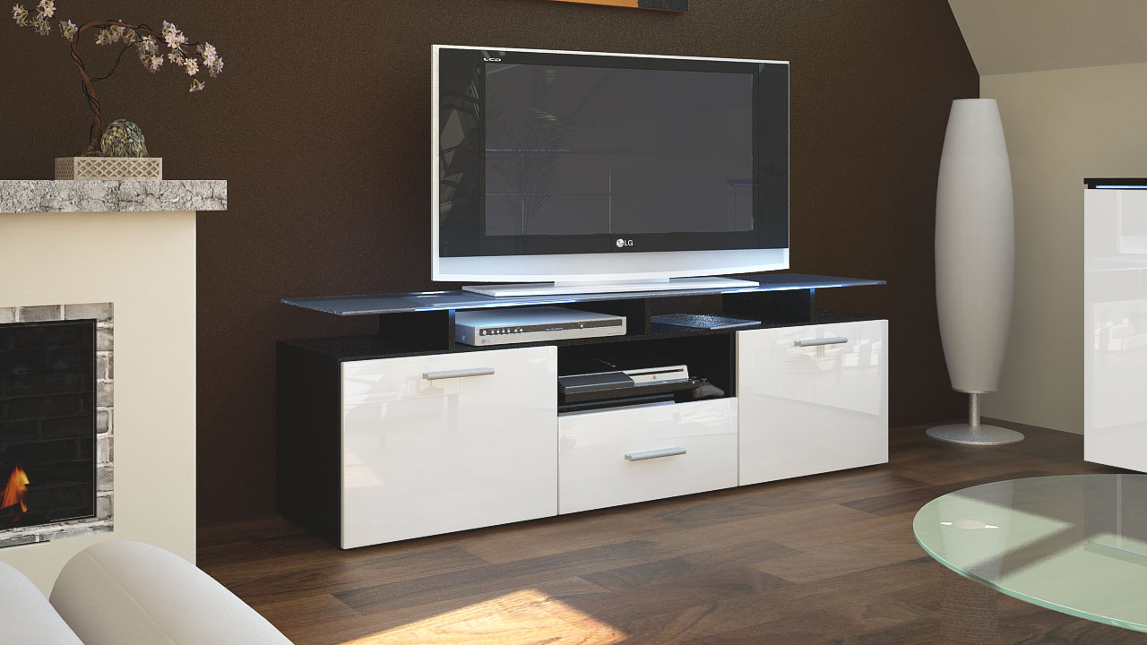 tv unit stand cabinet sideboard almada black high gloss. Black Bedroom Furniture Sets. Home Design Ideas