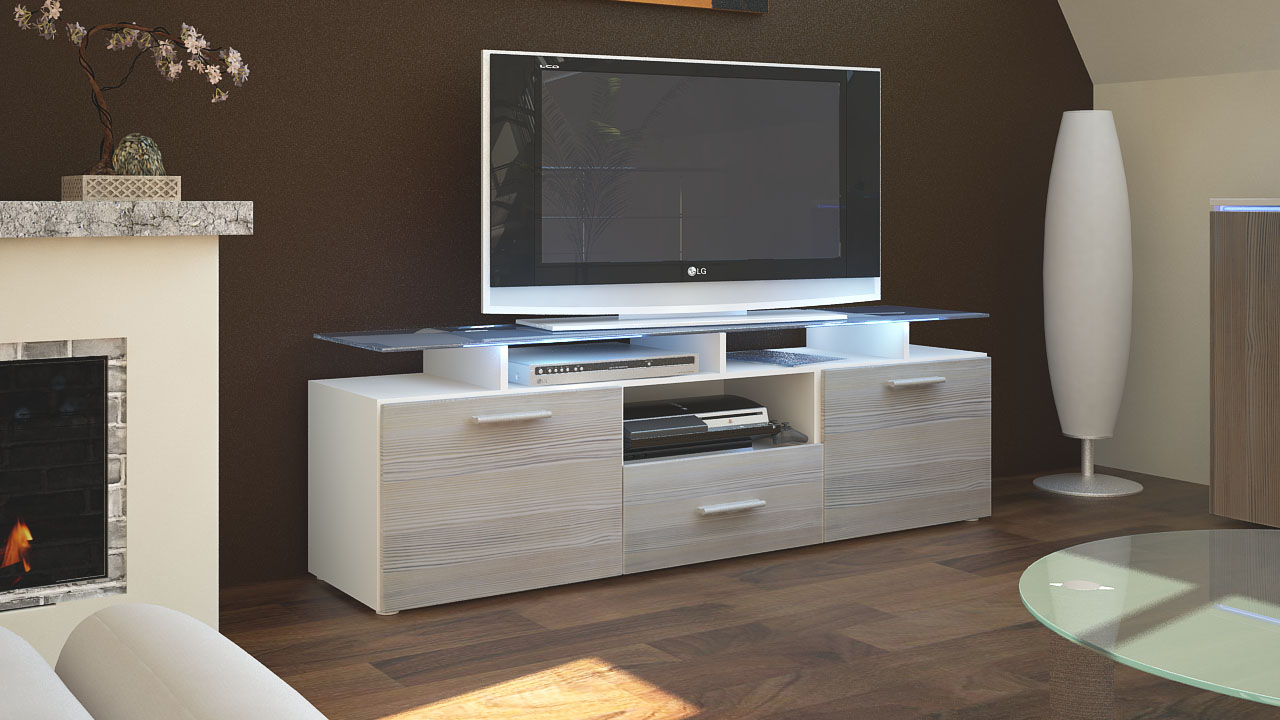 tv lowboard board schrank tisch m bel almada in wei. Black Bedroom Furniture Sets. Home Design Ideas