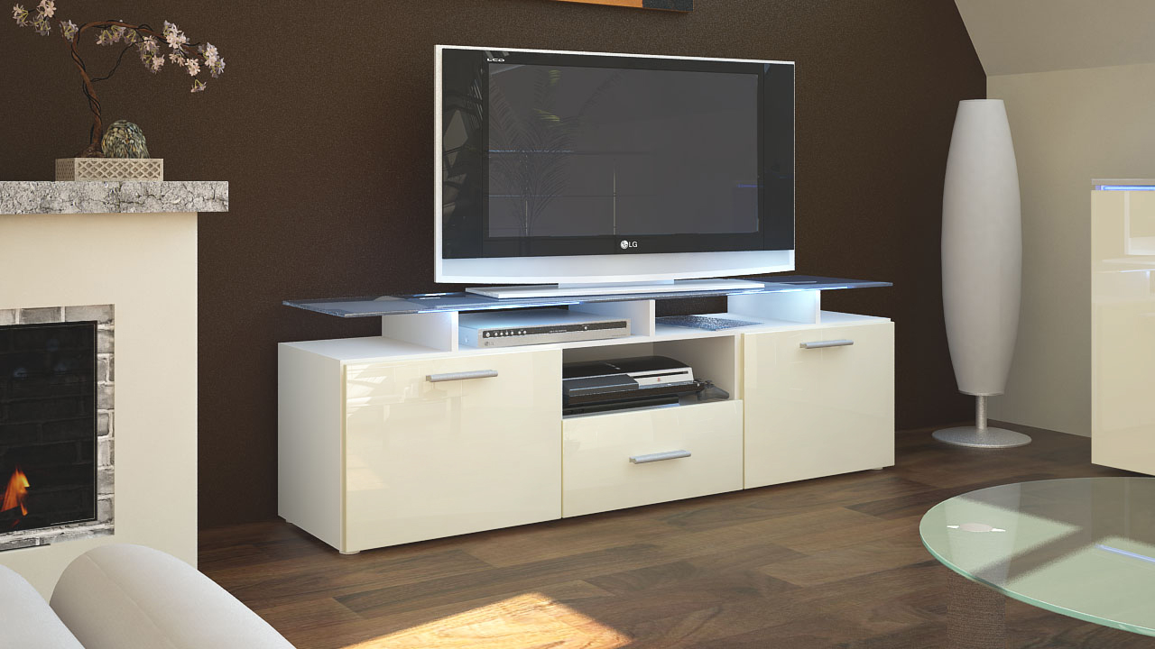 tv lowboard board schrank tisch m bel almada in wei hochglanz naturt ne. Black Bedroom Furniture Sets. Home Design Ideas