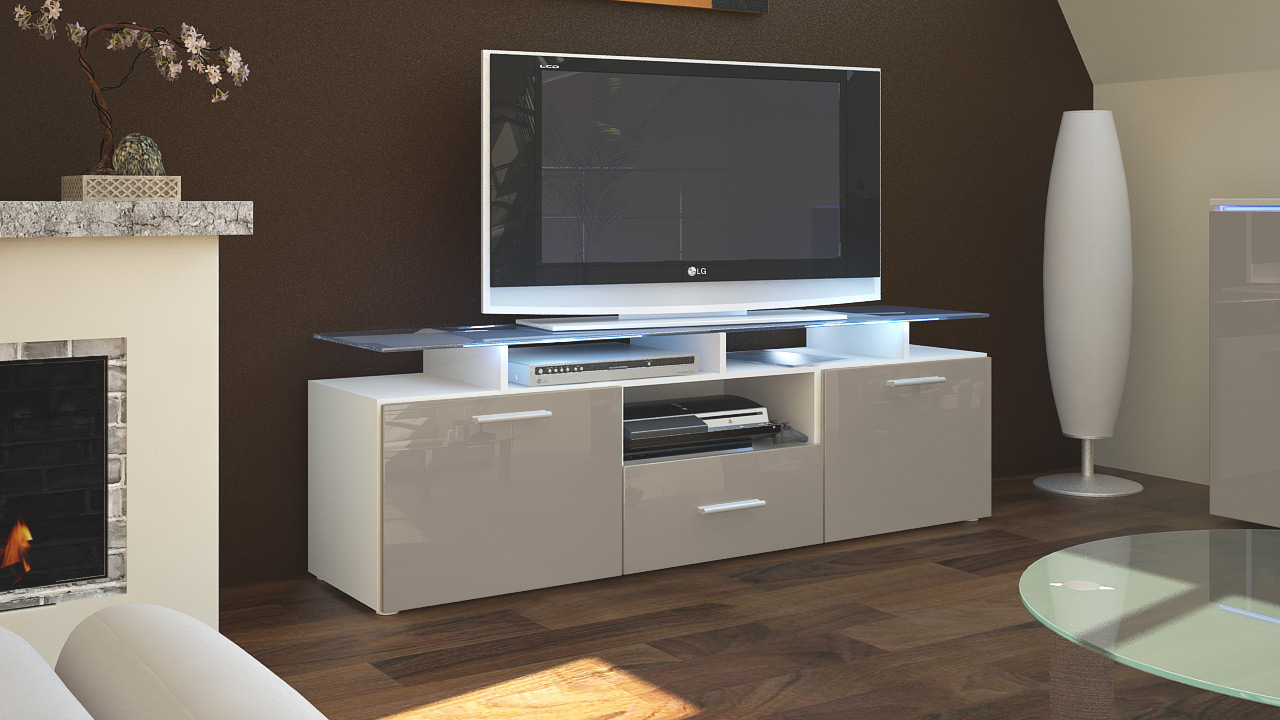 tv lowboard board schrank tisch m bel almada in wei hochglanz naturt ne. Black Bedroom Furniture Sets. Home Design Ideas