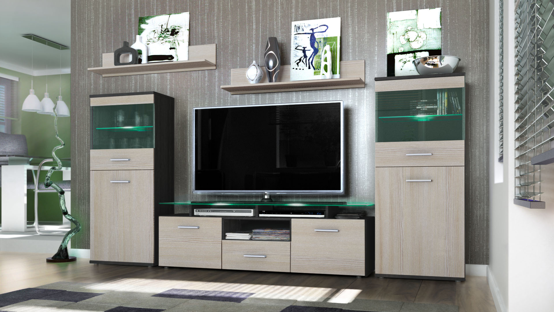 Wall unit living room furniture almada black high gloss natural tones ebay for High gloss black living room furniture