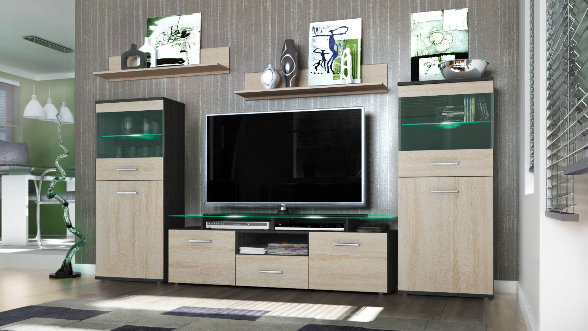 Wall unit living room furniture almada black high gloss - High gloss living room furniture uk ...
