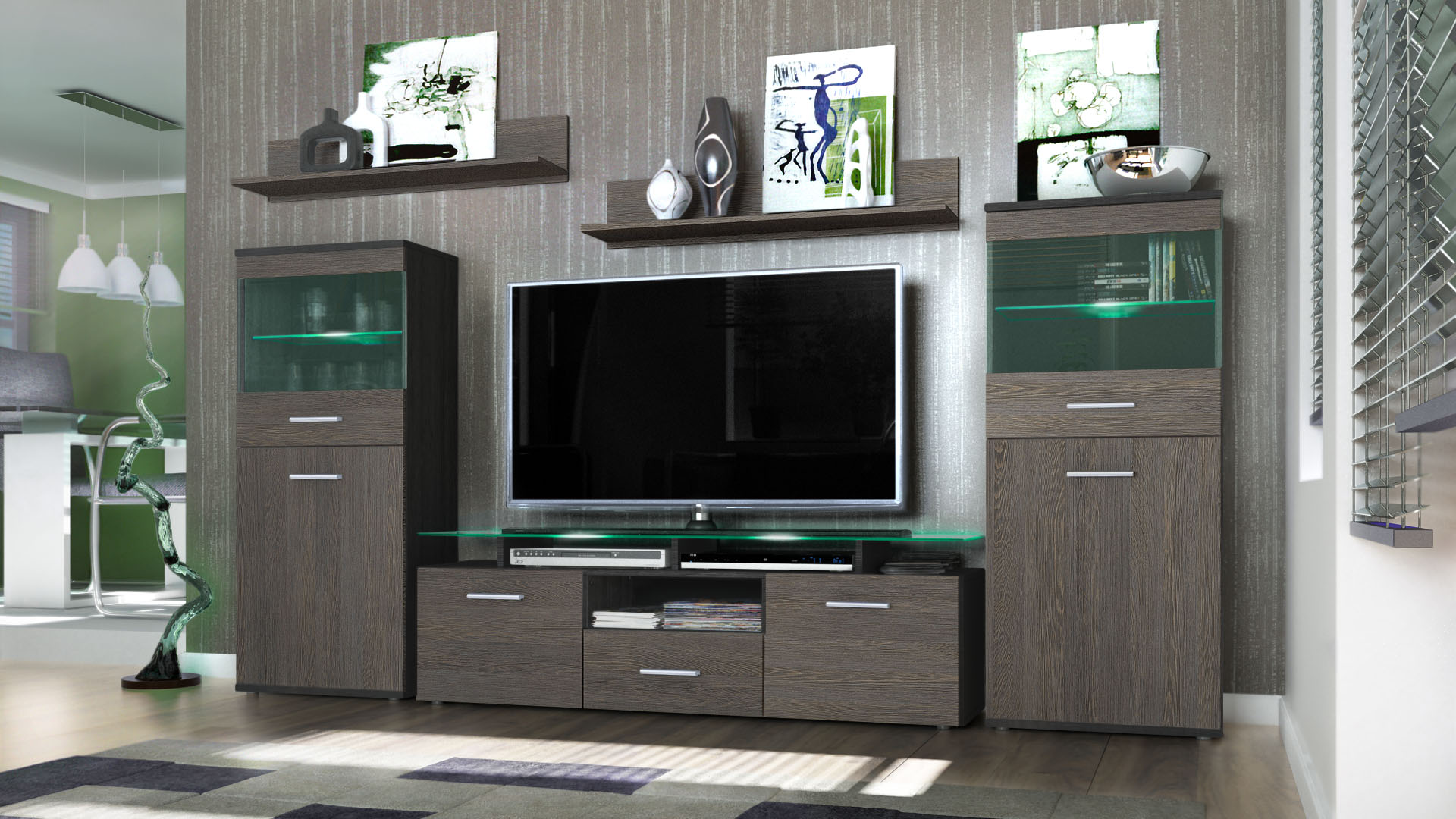 Wall Unit Living Room Furniture Almada Black High Gloss
