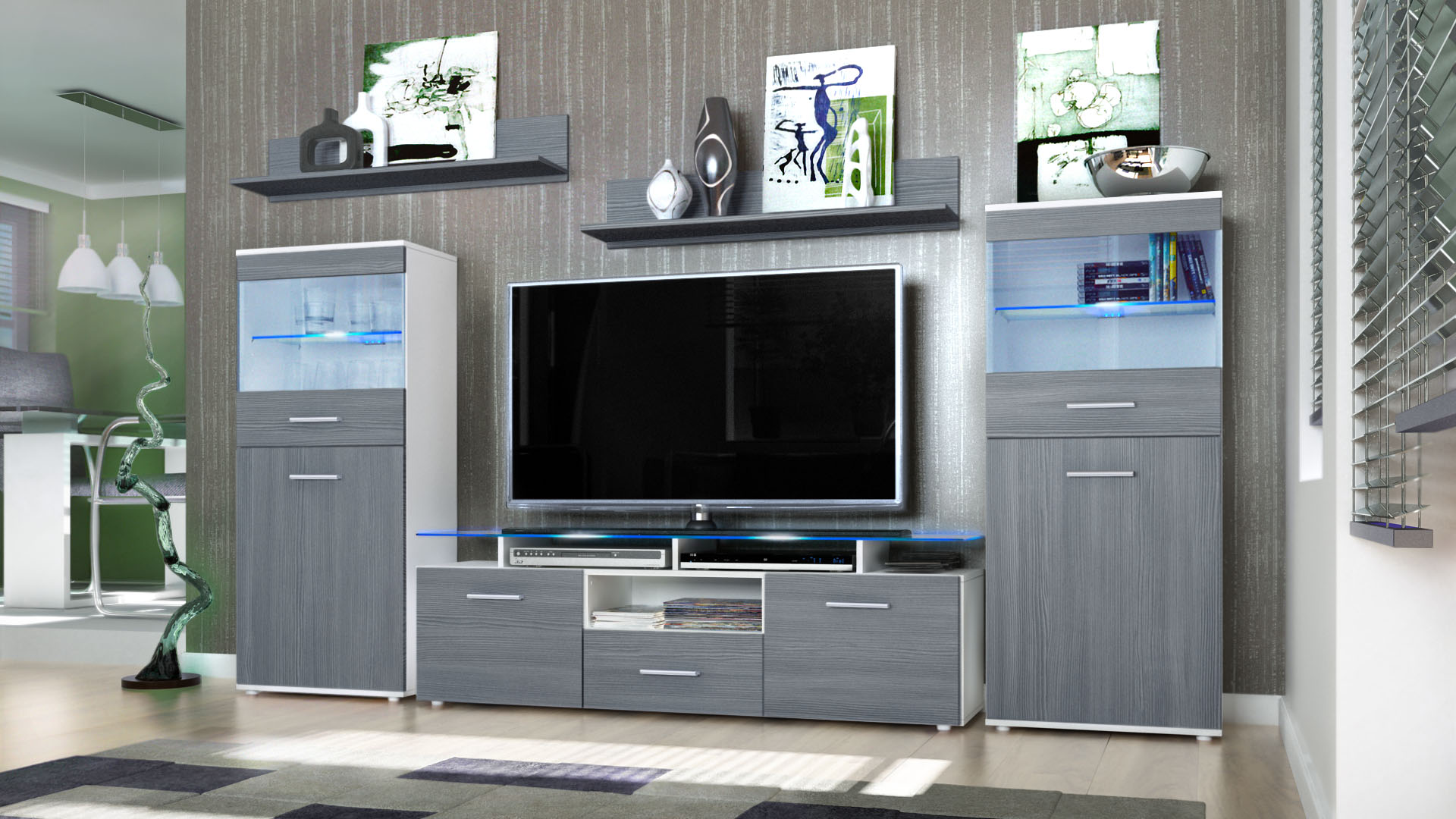 Wall unit living room furniture almada white high gloss - High gloss living room furniture uk ...