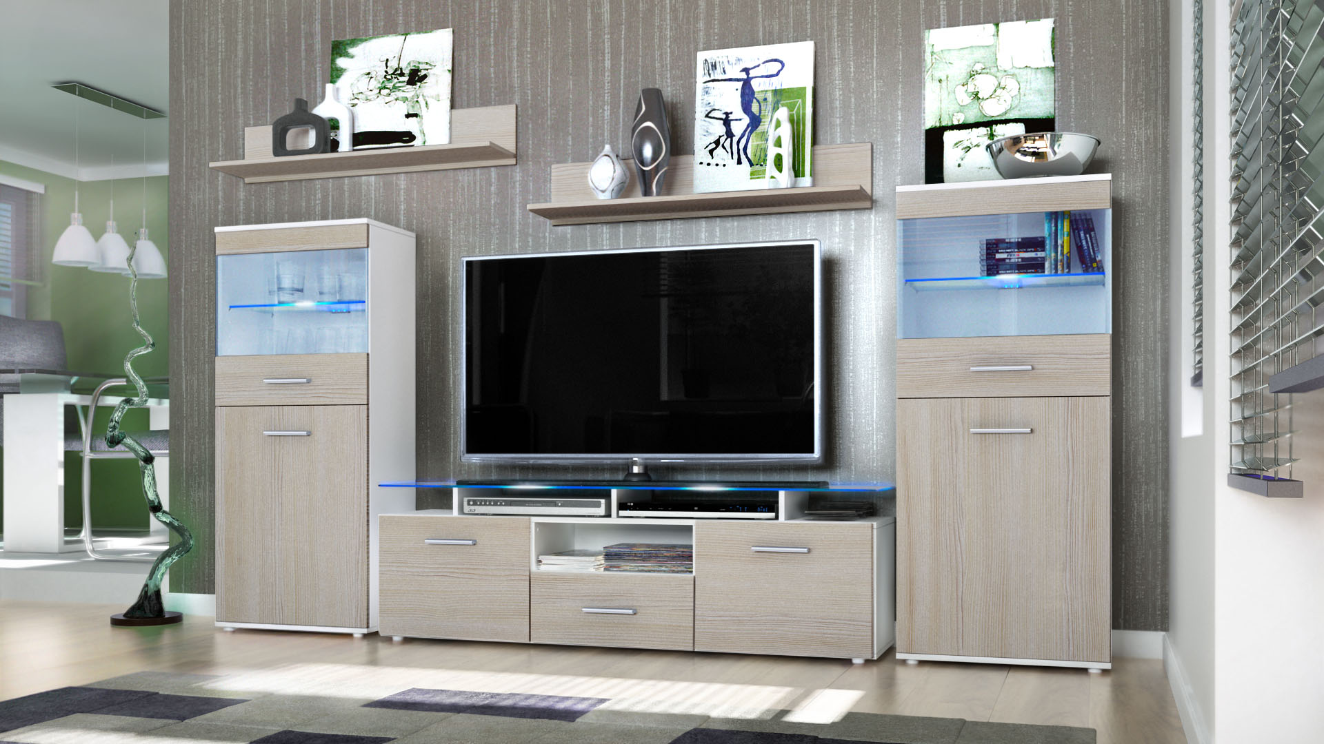 Wall Unit Living Room Furniture Almada White High Gloss Natural Tones Ebay