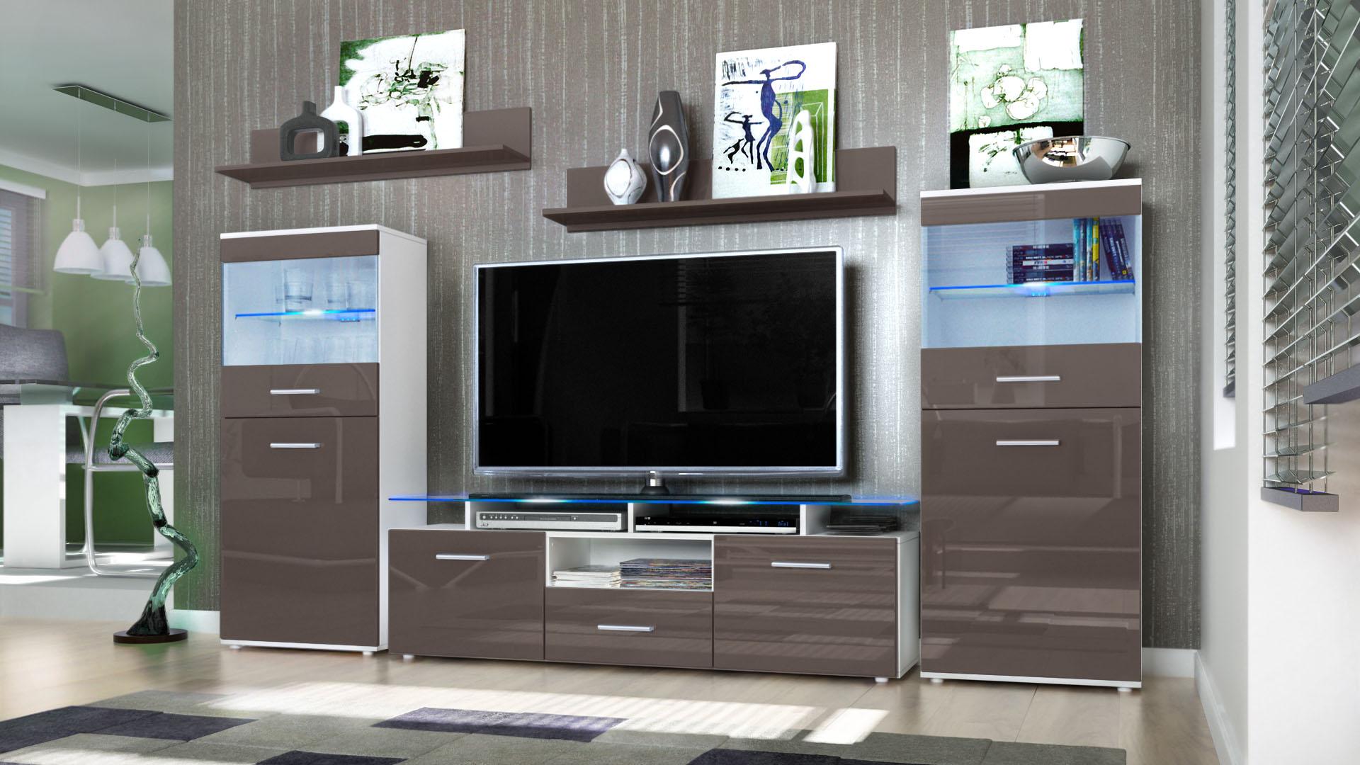 Wall Unit Living Room Furniture Almada White - High Gloss ...