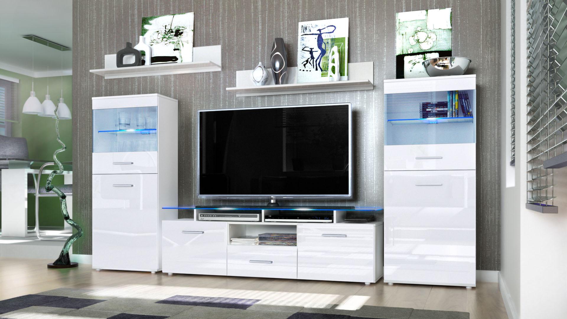 wall unit living room furniture almada white high gloss