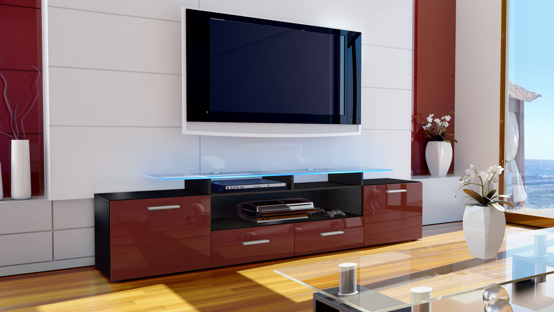 tv lowboard board schrank m bel almada v2 in schwarz hochglanz naturt ne ebay. Black Bedroom Furniture Sets. Home Design Ideas