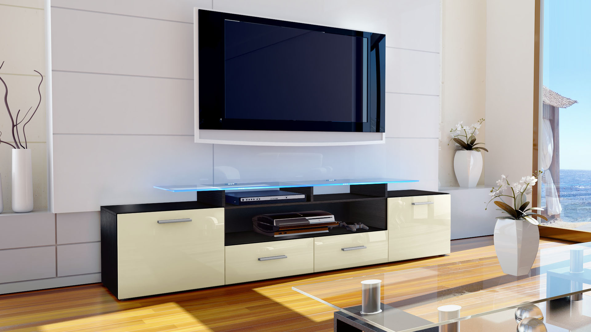 tv lowboard board schrank m bel almada v2 in schwarz. Black Bedroom Furniture Sets. Home Design Ideas