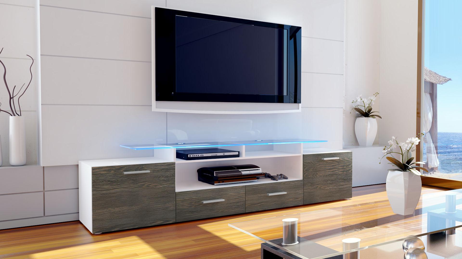 TV Lowboard Board Schrank Tisch Möbel Almada V2 in Weiß  # Lowboard Wenge Weiß