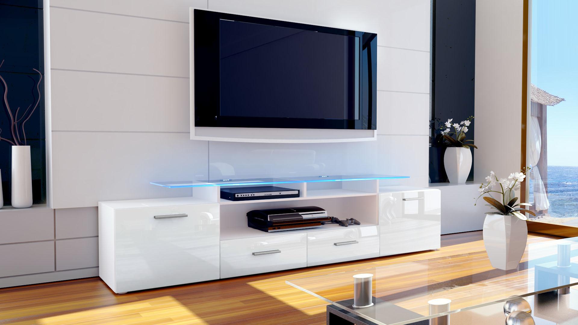 tv lowboard board schrank tisch m bel almada v2 in wei hochglanz. Black Bedroom Furniture Sets. Home Design Ideas