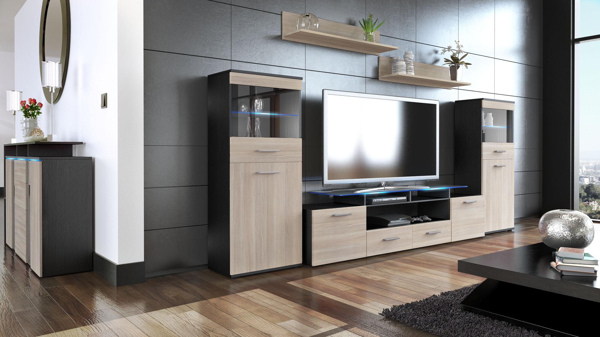 wohnwand schrankwand anbauwand vitrine 300cm schrank. Black Bedroom Furniture Sets. Home Design Ideas