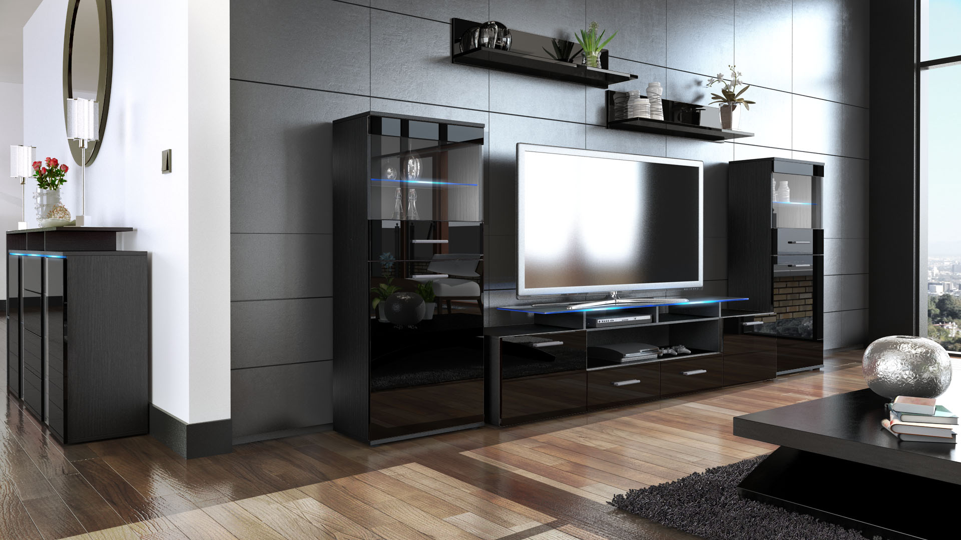 high gloss black living room furniture wall unit living room furniture almada v2 black high 25053