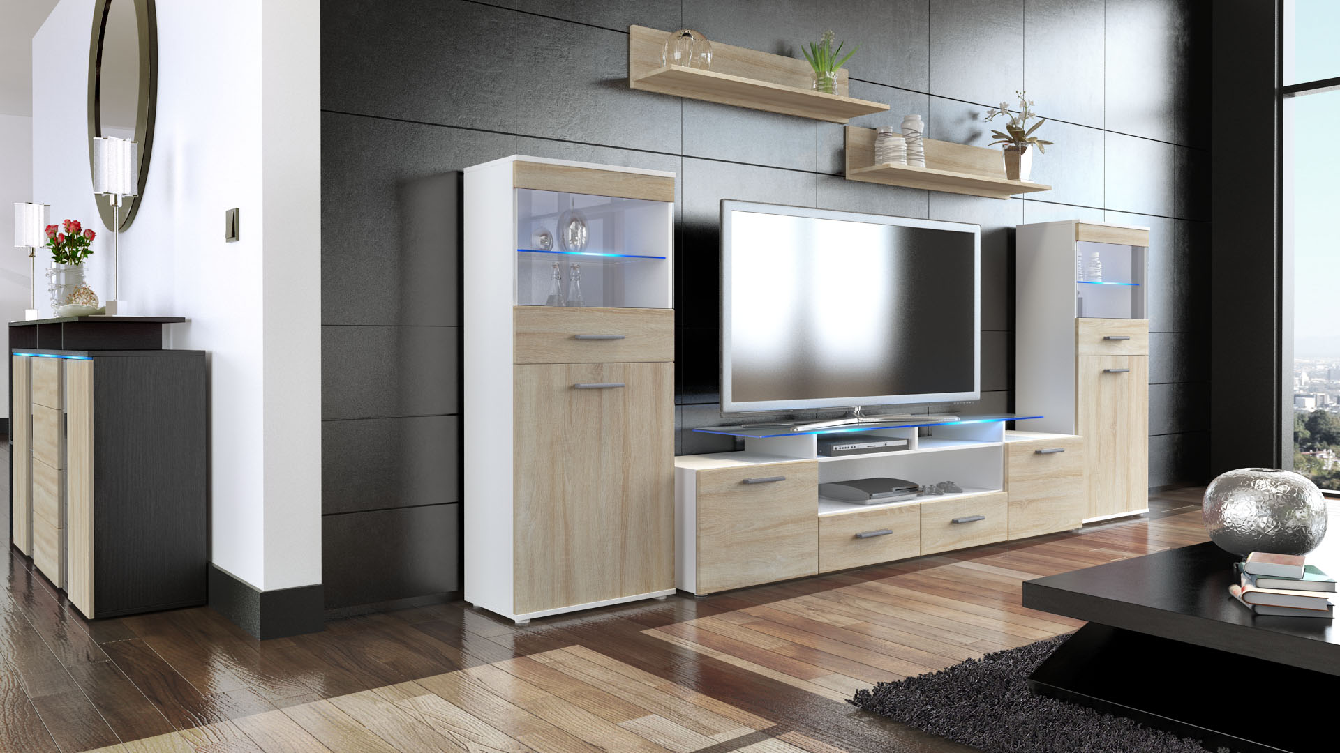 wohnwand schrankwand anbauwand almada v2 in wei hochglanz naturt ne ebay. Black Bedroom Furniture Sets. Home Design Ideas