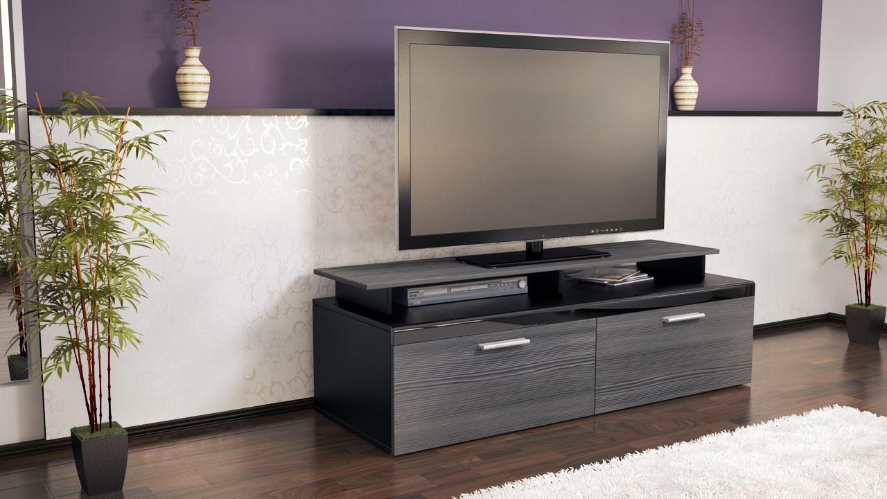 tv stand unit board lowboard cabinet atlanta black high gloss natural tones ebay. Black Bedroom Furniture Sets. Home Design Ideas