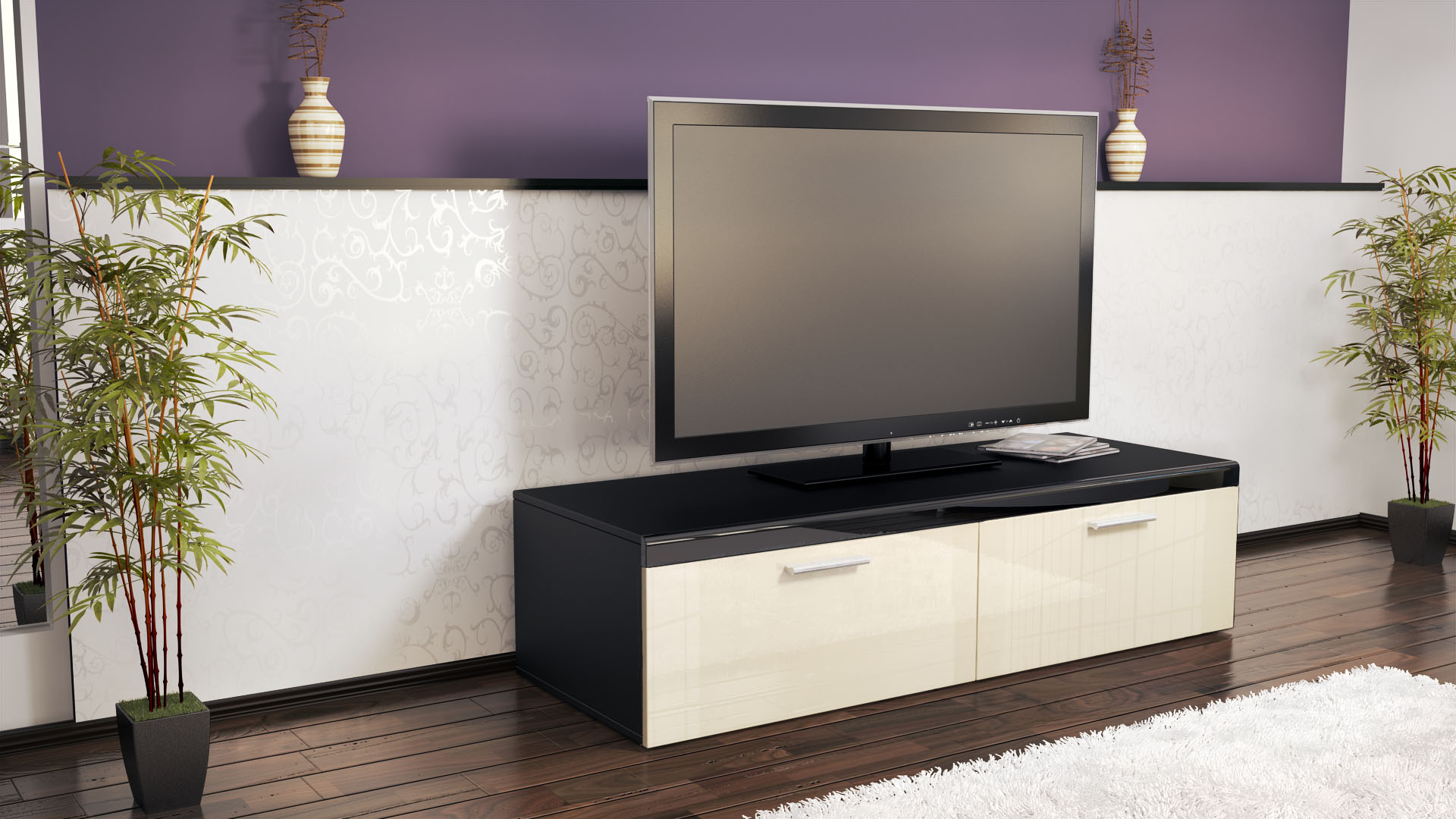 abverkauf tv lowboard board edelstahlgriff atlanta schwarz hochglanz naturt ne ebay. Black Bedroom Furniture Sets. Home Design Ideas