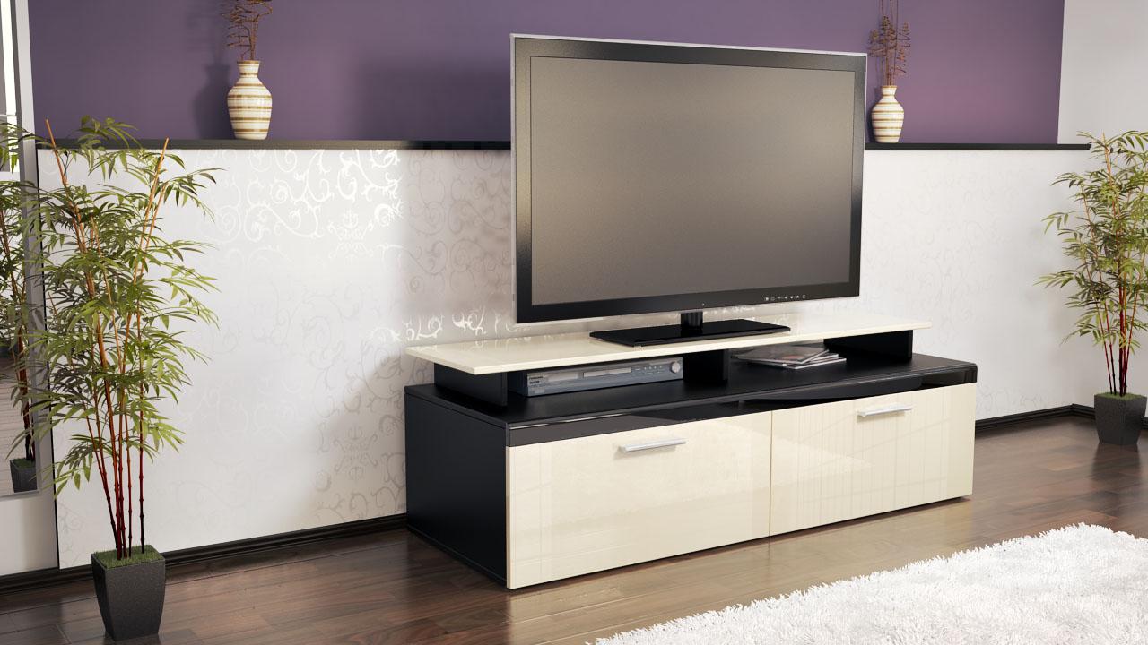 Armoire basse meuble tv atlanta en noir fa ades en - Meuble tv armoire ...