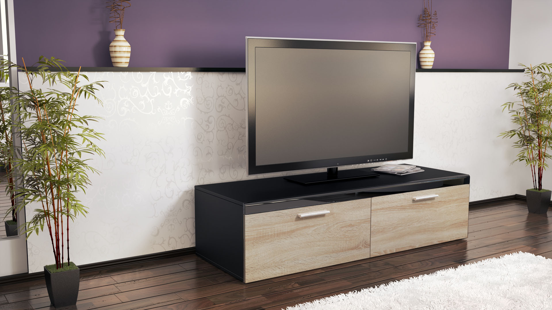 abverkauf tv lowboard board edelstahlgriff atlanta schwarz hochglanz naturt ne ebay. Black Bedroom Furniture Sets. Home Design Ideas