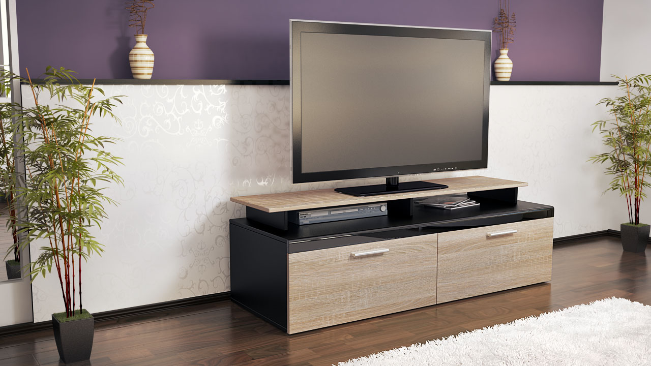 tv lowboard board schrank m bel atlanta in schwarz matt hochglanz naturt ne ebay. Black Bedroom Furniture Sets. Home Design Ideas