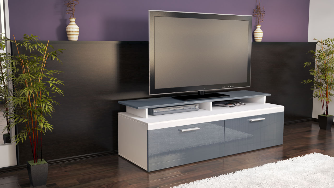 tv lowboard board schrank m bel atlanta in wei matt hochglanz naturt ne ebay. Black Bedroom Furniture Sets. Home Design Ideas