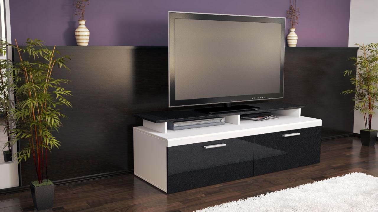 Armoire Basse Meuble Tv Atlanta En Blanc Fa Ades En