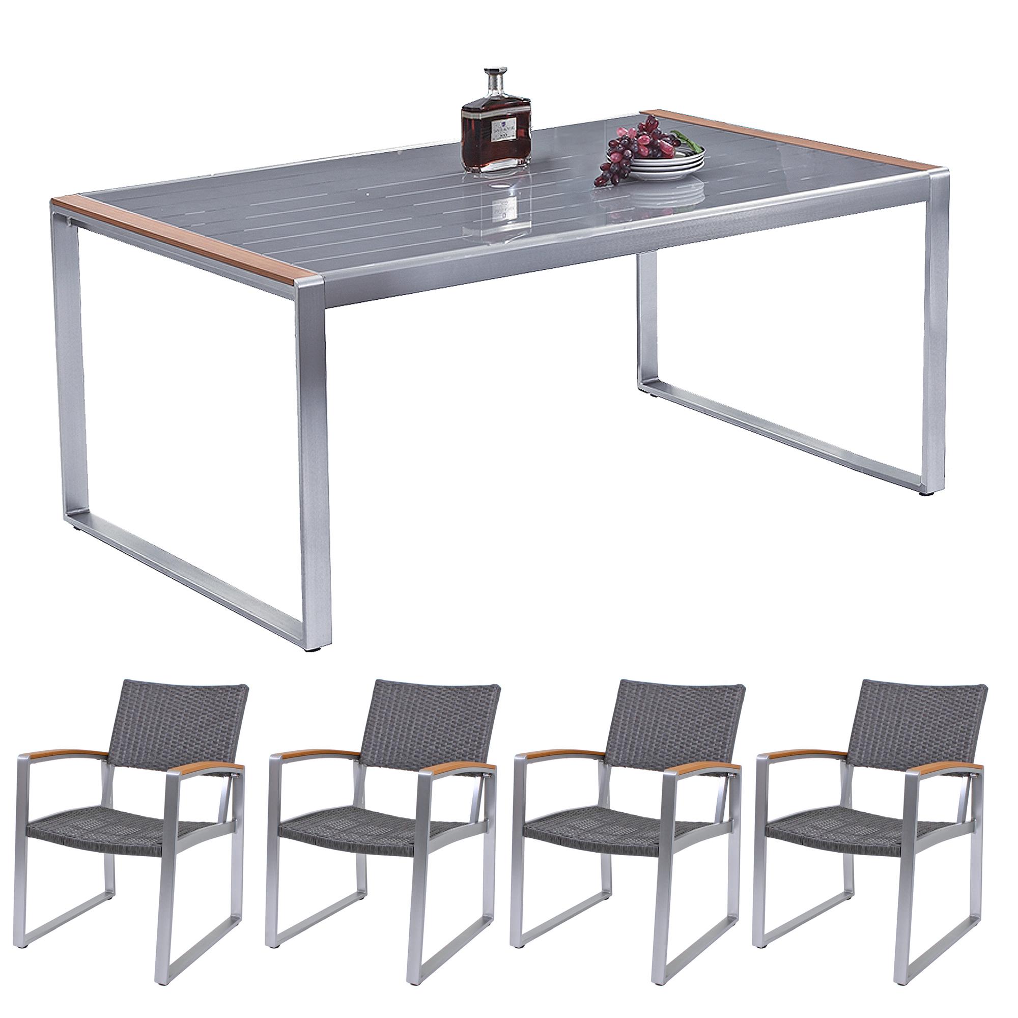 sitzgruppe gartenm bel set 5tlg set alu gartenset essgruppe garnitur tisch set ebay. Black Bedroom Furniture Sets. Home Design Ideas