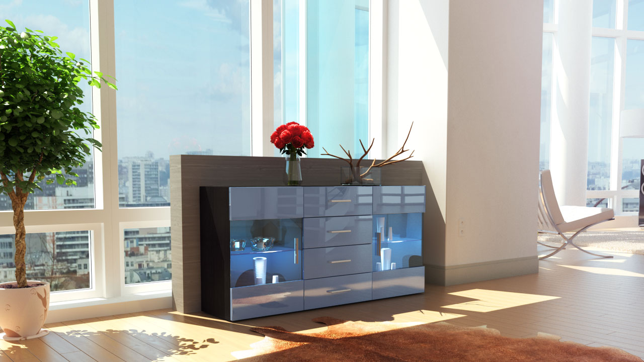 sideboard chest of drawers cabinet bari black high gloss. Black Bedroom Furniture Sets. Home Design Ideas